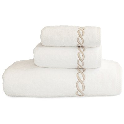 Cadena Embroidered Soft Twist 3 Piece Towel Set Color: Beige