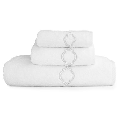 Trellis Embroidered Soft Twist 3 Piece Towel Set Color: Silver