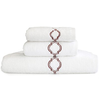 Trellis Embroidered Soft Twist 3 Piece Towel Set Color: Brown