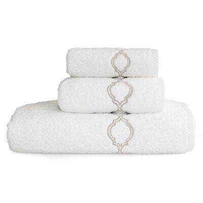 Trellis Embroidered Soft Twist 3 Piece Towel Set Color: Beige