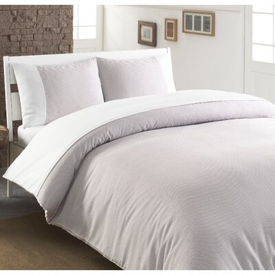 Chevas 100% Turkish Cotton Luxury Duvet Cover Color: Taupe and White, Size: King