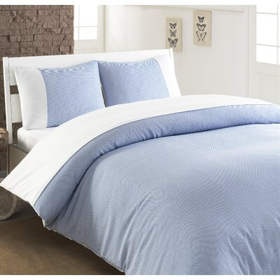Chevas 100% Turkish Cotton Luxury Duvet Cover Size: Queen, Color: Blue and White