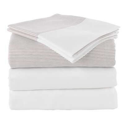 Chevas 100% Turkish Cotton Luxury Sheet Set Size: King, Color: Taupe and White