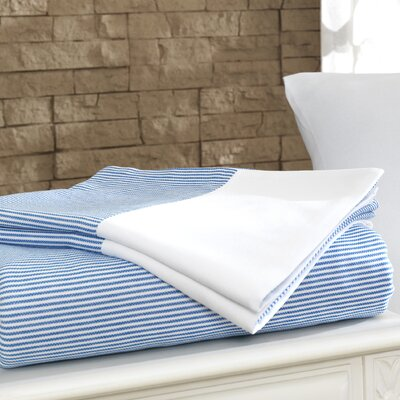 Chevas 100% Turkish Cotton Luxury Sheet Set Size: Queen, Color: Blue and White
