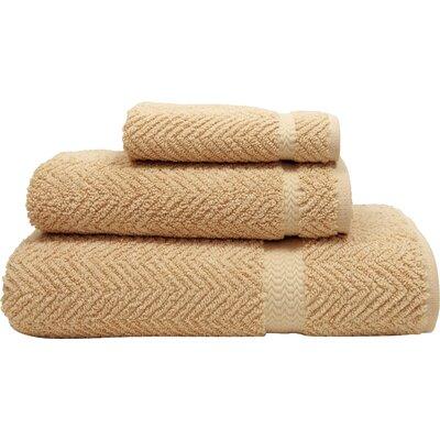 Herringbone Weave 100% Turkish Cotton 3 Piece Towel Set Color: Warm Sand