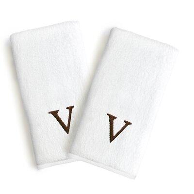 Soft Twist Monogrammed Hand Towel Letter: Letter: V