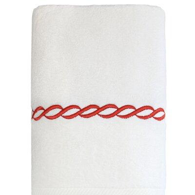 Cadena Embroidered Soft Twist Bath Towel Color: Terra Cotta
