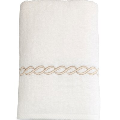 Cadena Embroidered Soft Twist Bath Towel Color: Beige