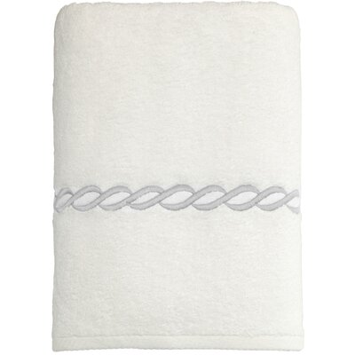 Cadena Embroidered Soft Twist Bath Towel Color: Silver