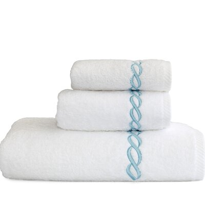 Cadena Embroidered Soft Twist 3 Piece Towel Set Color: Sky Blue