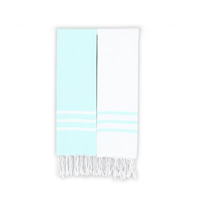 Alara 2 Piece Towel Set Color: White/Soft Aqua