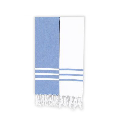 Alara 2 Piece Towel Set Color: White/Royal Blue