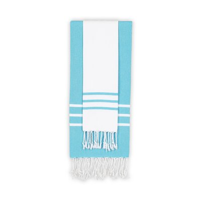 Alara 2 Piece Towel Set Color: White/Turquoise