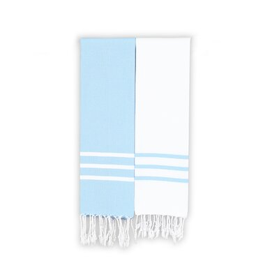 Polizzi 2 Piece Towel Set Color: White/Sky Blue