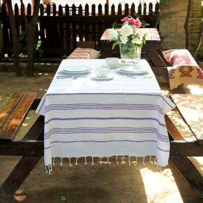 Rische 100% Turkish Cotton Pestemal/Fouta Beach Towel Color: White / Purple