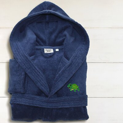 Hooded Terry Bathrobe Size: Small, Color: Midnight Blue