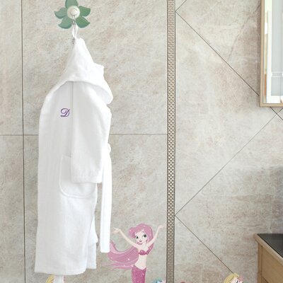 3 Piece Hooded Terry Bathrobe and Hand Towel Set Size: Medium, Color: Soft White
