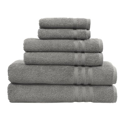 Denzi 6 Piece Towel Set Color: Dark Gray