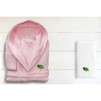 2 Piece Hooded Terry Bathrobe and Hand Towel Set Size: Large, Color: Pretty Pink