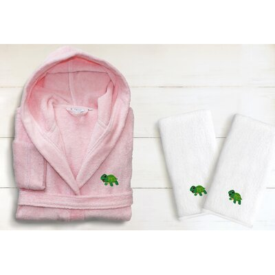 3 Piece Hooded Terry Bathrobe and Hand Towel Set Size: Medium, Color: Pretty Pink