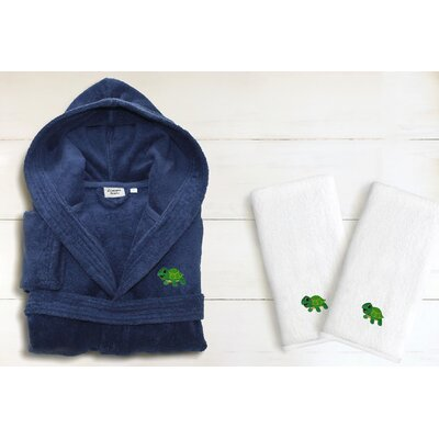 3 Piece Hooded Terry Bathrobe and Hand Towel Set Size: Small, Color: Midnight Blue