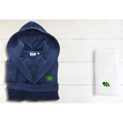2 Piece Hooded Terry Bathrobe and Hand Towel Set Size: Medium, Color: Midnight Blue