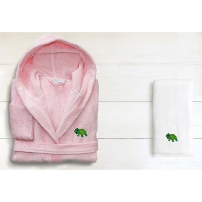 Hooded Terry Bathrobe Size: Small, Color: Pretty Pink