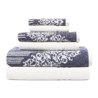 Gioia-Denzi 6 Piece Towel Set Color: Ocean Blue/White