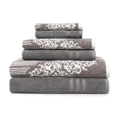 Gioia-Denzi 6 Piece Towel Set Color: Brown/Dark Gray
