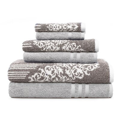 Gioia-Denzi 6 Piece Towel Set Color: Brown/Gray