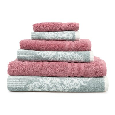 Gioia-Denzi 6 Piece Towel Set Color: Soft Aqua/Tea Rose
