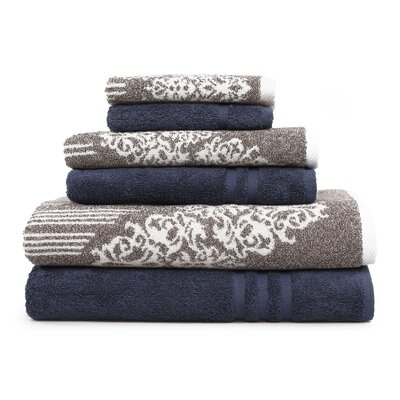 Gioia-Denzi 6 Piece Towel Set Color: Brown/Twilight Blue