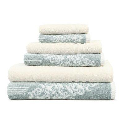 Gioia-Denzi 6 Piece Towel Set Color: Soft Aqua/Cream