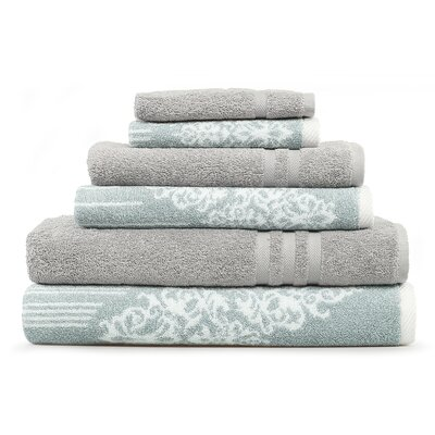 Gioia-Denzi 6 Piece Towel Set Color: Soft Aqua/Gray