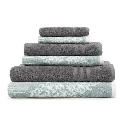 Gioia-Denzi 6 Piece Towel Set Color: Soft Aqua/Dark Gray