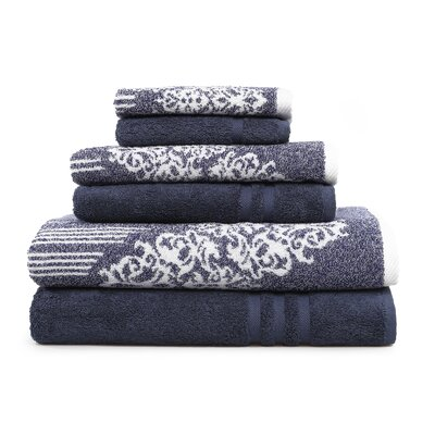 Gioia-Denzi 6 Piece Towel Set Color: Ocean Blue/Twilight Blue