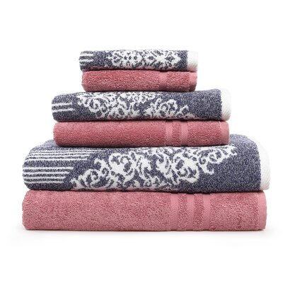 Gioia-Denzi 6 Piece Towel Set Color: Ocean Blue/Tea Rose