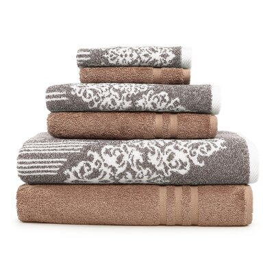 Gioia-Denzi 6 Piece Towel Set Color: Brown/Latte