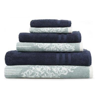 Gioia-Denzi 6 Piece Towel Set Color: Soft Aqua/Twilight Blue