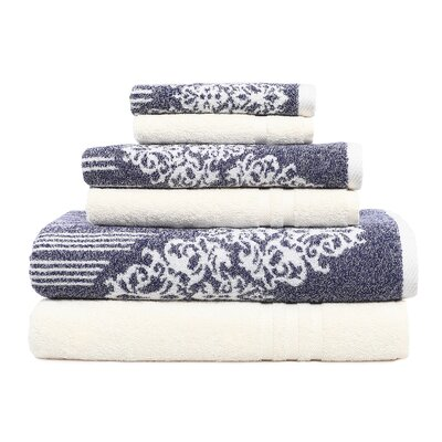 Gioia-Denzi 6 Piece Towel Set Color: Ocean Blue/Cream