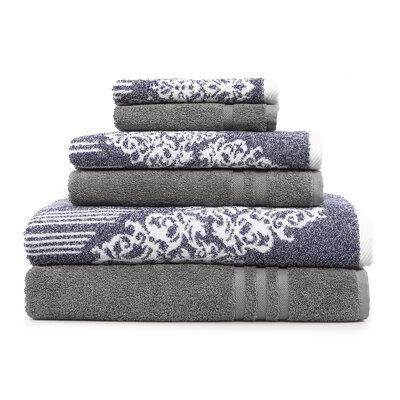 Gioia-Denzi 6 Piece Towel Set Color: Ocean Blue/Dark Gray