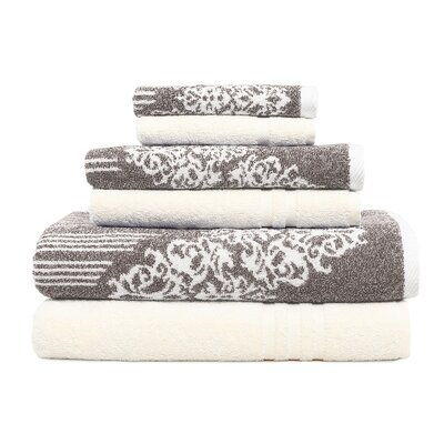 Gioia-Denzi 6 Piece Towel Set Color: Brown/Cream