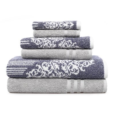 Gioia-Denzi 6 Piece Towel Set Color: Ocean Blue/Gray
