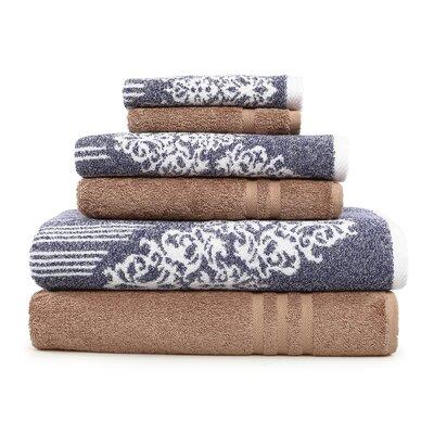 Gioia-Denzi 6 Piece Towel Set Color: Ocean Blue/Latte