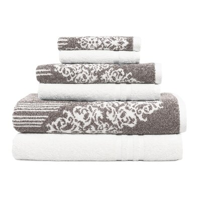 Gioia-Denzi 6 Piece Towel Set Color: Brown/White