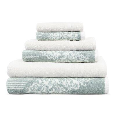 Gioia-Denzi 6 Piece Towel Set Color: Soft Aqua/White