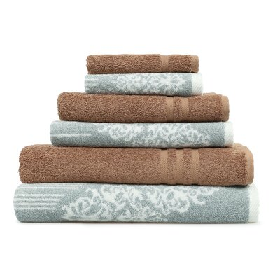 Gioia-Denzi 6 Piece Towel Set Color: Soft Aqua/Latte