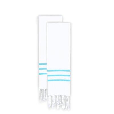 Polizzi 2 Piece Towel Set Color: White/Turquoise