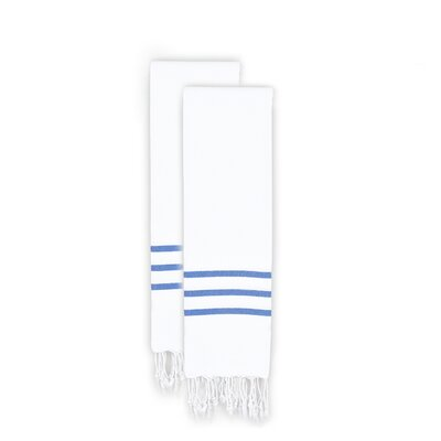 Alara 2 Piece Towel Set Color: White/Royal Blue