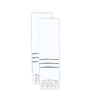 Polizzi 2 Piece Towel Set Color: White/Gray